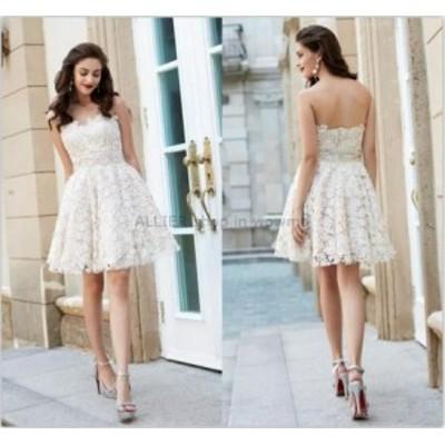 ウェディングドレス/ステージ衣装 魅力的なレースホワイト/アイボリーのショートウェディングドレスストラップレスの膝丈ブライダルドレ