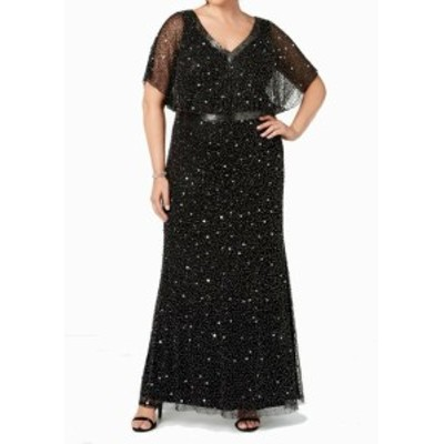 Adrianna Papell アドリアーナ パペル ファッション ドレス Adrianna Papell Womens Dress Black Size 2P Petite Embellished Gown