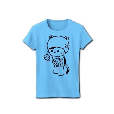 野球をするねこ(グローブ持ち) リブクルーネックTシャツ(ライトブルー)