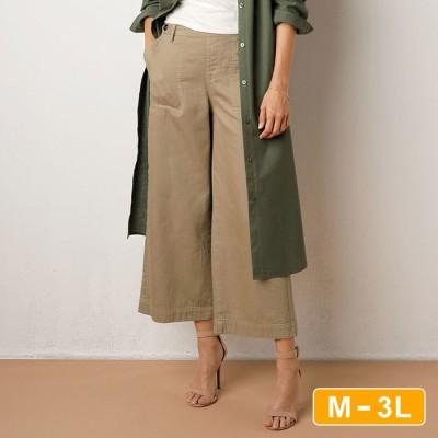 Ranan 【M~3L】綿100%やわらか!ダブルガーゼワイドパンツ ブルー M レディース