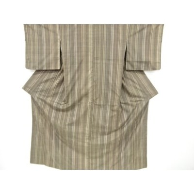アンティーク 縞模様織り出し手織り紬着物