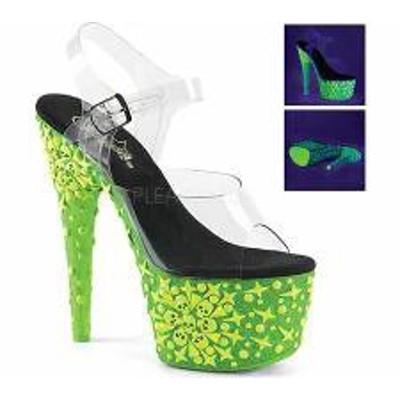 Pleaser レディースサンダル Pleaser Adore 708NSK Ankle-Strap Sandal Clear PVC