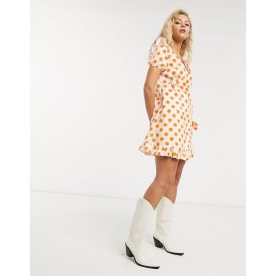 ロストインク ミニドレス レディース Lost Ink wrap front smock mini dress in tonal polka dot エイソス ASOS