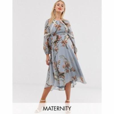 ホープ&アイビー Hope and Ivy Maternity レディース ワンピース ミドル丈 ワンピース・ドレス floral lace trim long sleeve midi dres