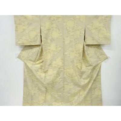 宗sou 幾何学に唐花模様織出十日町紬着物【リサイクル】【着】