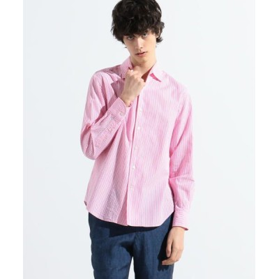 TOMORROWLAND/トゥモローランド コットンシアサッカー ワンピースワイドカラーシャツ 34 ピンク系 M