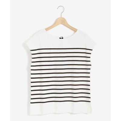 le.coeur blanc / バックZIPパネルボーダーカットソー WOMEN トップス > Tシャツ/カットソー