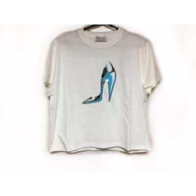 レッドバレンチノ RED VALENTINO 半袖Tシャツ サイズXS レディース 美品 - 白×シルバー×ライトブルー【中古】20201208