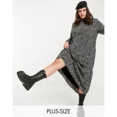 ノイズィーメイ Noisy May Curve レディース ワンピース マキシ丈 ワンピース・ドレス Maxi Smock Dress In Black Abstract Print