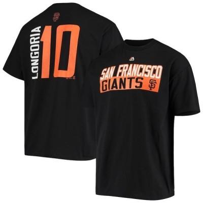 マジェスティック メンズ Tシャツ トップス Evan Longoria San Francisco Giants Majestic Block Player T-Shirt Black