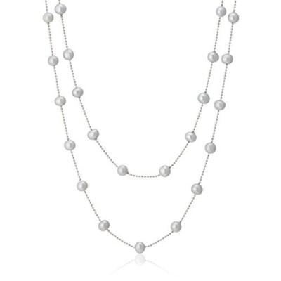 [ピュアパール] Pure Pearl 淡水パール ステーション ネックレス グレー PP0928N-GY(120)