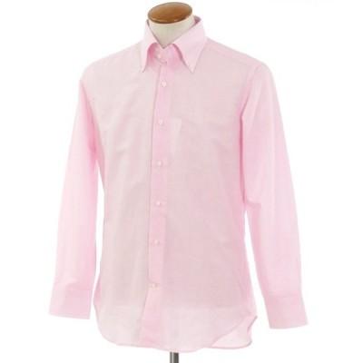 クイード QJD リネンコットン ボタンダウン カジュアルシャツ ピンク×ホワイト 39