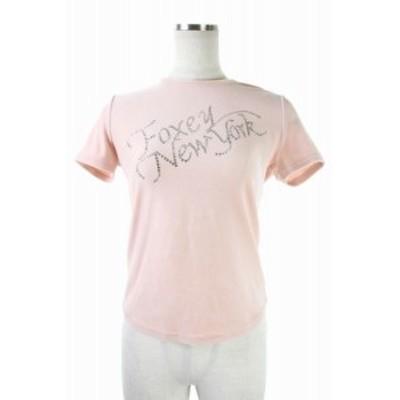 【中古】フォクシーニューヨーク FOXEY NEW YORK 18602 ロゴビジューベロア カットソー 半袖 38 ピンク レディース