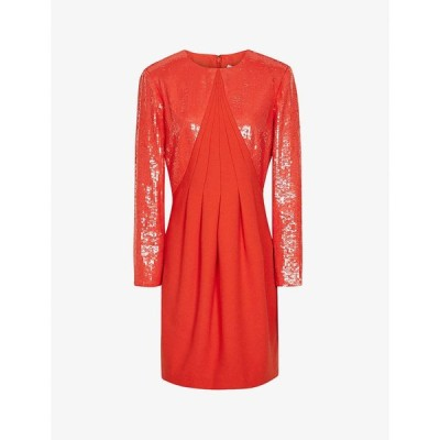 リース REISS レディース パーティードレス ミニ丈 ワンピース・ドレス Cara flared sequinned mini dress RED