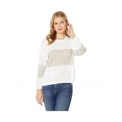 American Rose レディース 女性用 ファッション セーター Hesper Sweater with Stripe - Off-White/Gray