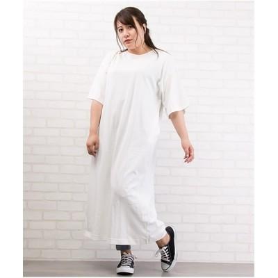 【大きいサイズ】 配色ステッチバックスリットワンピース ワンピース, plus size dress