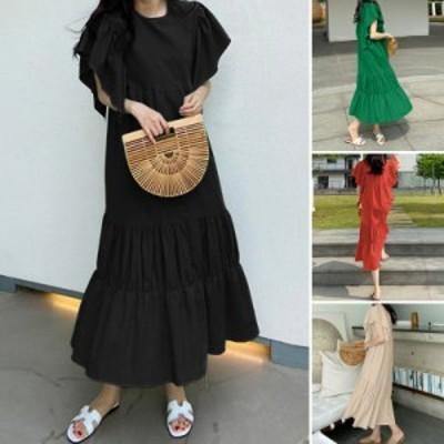 夏 新 品 レディース マキシワンピース 半袖 シャツ レディース 綿麻 シャツ ワンピース 超ロング マキシワンピース韓国ファッション