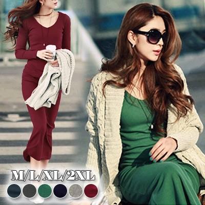 自社の新製品の生地ニット ドレス ロングスカート 韓国ファッション 大人い ロングワンピース ニットワンピース /ロングワンピース ニット/着瘦