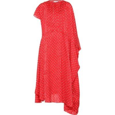 バレンシアガ Balenciaga レディース ワンピース ミドル丈 ワンピース・ドレス polka-dot silk midi dress Red/White
