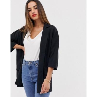 エイソス レディース ジャケット&ブルゾン アウター ASOS DESIGN easy relaxed blazer in textured jersey Black