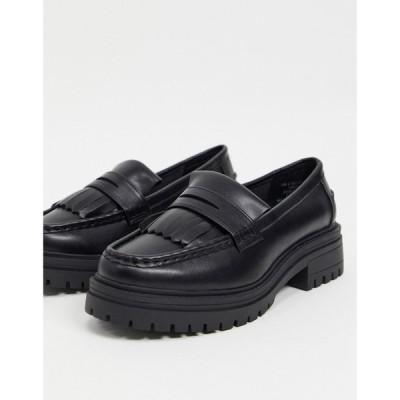 エイソス ASOS DESIGN レディース ローファー・オックスフォード チャンキーヒール シューズ・靴 Melon Chunky Loafers In Black ブラック