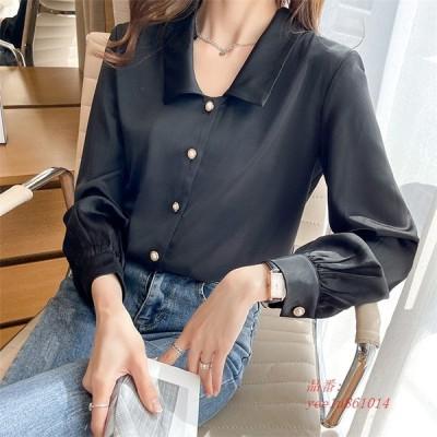シャツ ブラウス レディース トップス 長袖 襟付き 大きいサイズ 黒 オフィス 白