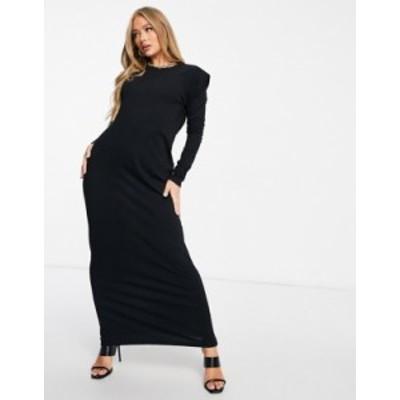 エイソス レディース ワンピース トップス ASOS DESIGN padded shoulder long sleeve maxi dress in black Black