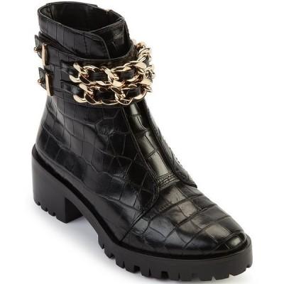カールラガーフェルド レディース ブーツ&レインブーツ シューズ Palmer Croc Print Leather Chain Detail Lug Sole Combat Booties Black