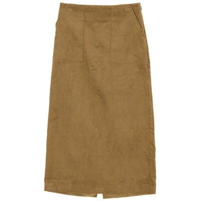 ティティベイト titivate ウエストバックゴムコーデュロイタイトスカート (ブラウン)