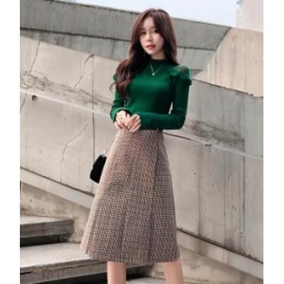 スカート セットアップ スカート チェック柄 ひざ丈 緑 黒 きれいめ  秋物 冬物 最新 レディース ファッション 2020 人気 可愛い 大人