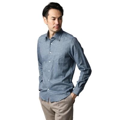カジュアルシャツ/メンズ/ETONNE/ALBIATE/コットンツイル ワイドカラーシャツ ブルー