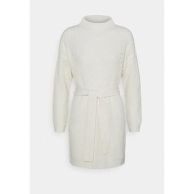 ミスガイデッド ワンピース レディース トップス HIGH NECK BASIC DRESS WITH BELT - Jumper dress - offwhite