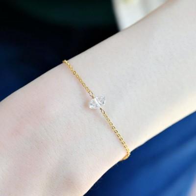 宝石質 ハーキマーダイヤモンド ブレスレット 重ね付けにも〜〜 10月誕生石 14KGF ゴールドフィルド 水晶 天然石 パワーストーン ハンドメイド RALULU.SHU