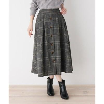 スカート 【S-L】前ボタンチェックスカート