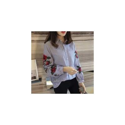 シャツ ブラウス レディース 刺繍 ストライプ 花柄 長袖 トップス トレンド 大きいサイズ ゆったり 開襟 折り襟 シングル  春夏 新作 送料無料