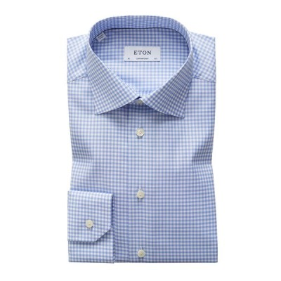 エトン メンズ シャツ トップス Men's Contemporary-Fit Grid-Pattern Dress Shirt
