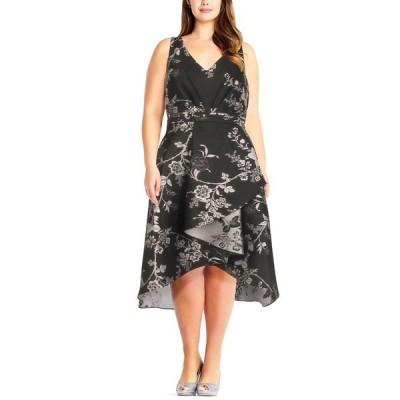アドリアナ パペル ワンピース トップス レディース Plus Size Floral-Print High-Low Dress Black/Silver