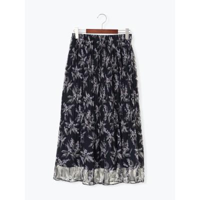 楊柳花柄プリーツスカート