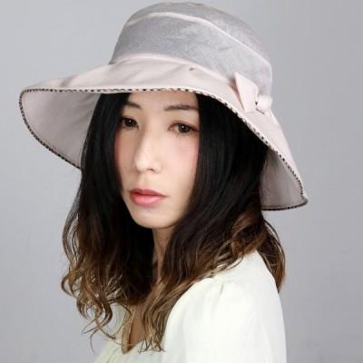 DAKS ハット 春夏 レディース 麻 UVカット 婦人 シースルー ツバ広 帽子 お洒落 かわいい 清涼感 ダックス チェック ピンク