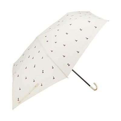 ワールドパーティー(Wpc.) 日傘 折りたたみ傘 白 50cm レディース 傘袋付き プチチェリー刺繍ミニ 801-1884 OF