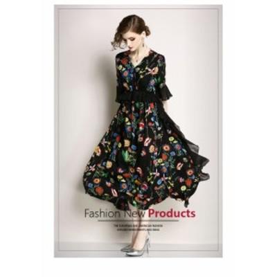 ボヘミアン柄 シフォン ロングドレス 結婚式 半袖 お呼ばれドレス ワンピース パーティードレス  結婚式ドレス 30代 20代 40代 50代