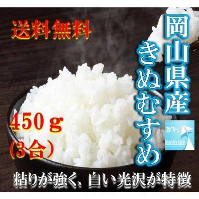 米 ポイント消化 送料無料 お試し お米 食品 安い 1kg以下 令和2年産 岡山県産きぬむすめ 450g(3合)1袋 メール便