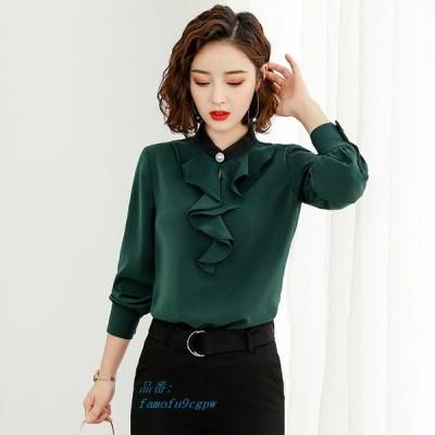レディース 緑 白 M 4XL ロングシャツ ブラウス XL S 大きいサイズ L トップス ホワイト 長袖シャツ シンプル 3XL フリル ベージュ グリーン 2XL