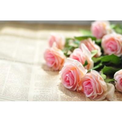 MIZ 造花 パーツ フラワーアレンジ ハンドメイド 保湿質感 バラ 15本 パステルピンク
