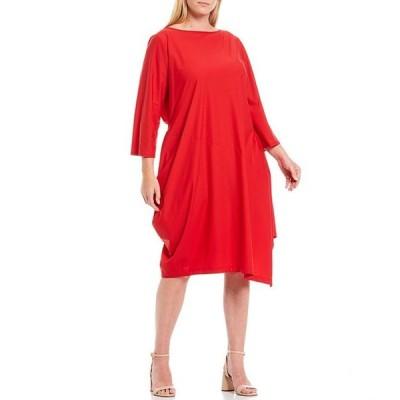 アイシーコレクション レディース ワンピース トップス Plus Size Asymmetrical 3/4 Sleeve MIdi Dress