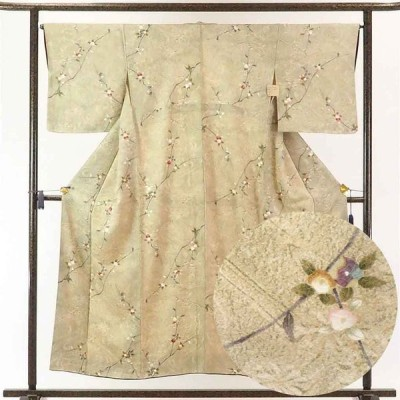 リサイクル着物 小紋 正絹ベージュ地花柄袷小紋着物