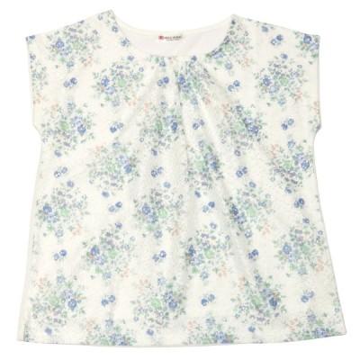 レディース ウィメンズ カジュアル フレンチスリーブ レースジャガードプルオーバー ラウンドネック 白×グリーン、ブルー系花柄