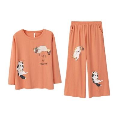 パジャマ ルームウェア レディース 春秋 長袖 長ズボン 上下セット 猫柄 ねこ 可愛い スイート 女の子 ワイド おしゃれ コットン