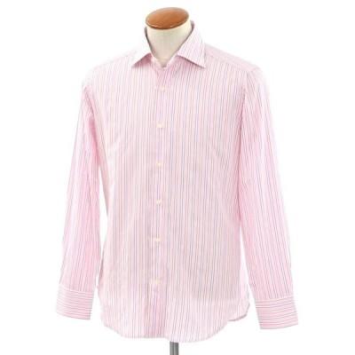 未使用 クイード QJD カジュアルシャツ ピンク×ホワイト×ダークパープル 39