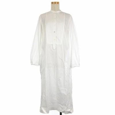 【中古】ウィムガゼット Whim Gazette GEMINI コットン バンドカラー シャツ ワンピース 長袖 ホワイト 210420E